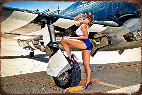 Military Theme Metal Signs, Pinup Girl Airplane pin up Girl 8'X12' Vintage Military Sign Metal Plaque Decor Sign Home Man Cave Decor Metal Tin Sign Wall Decor Sign JtS-09