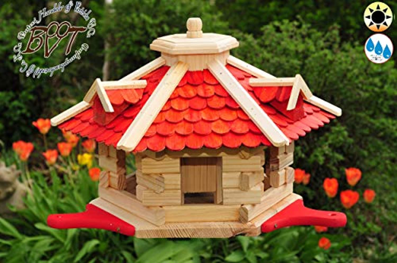 PREMIUM Vogelhaus rot mit Landebahn-Anflugbrett, ca. 55 cm, Massivholz,wette