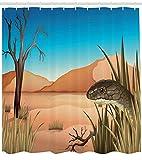taquxinlaowan Schlange Duschvorhang Wüste Tropical Nature Print für Badezimmer