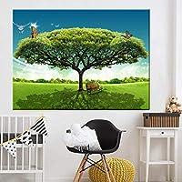 キャンバスポスター壁写真家の装飾キャンバス壁アートプリント蝶花キャンバス絵画ツリー写真プリント70x90cmフレームなし