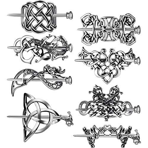 8 Pieces Viking Celtic Hair Clips Vintage Celtic Hairpins Silver Celtic Hair Slide Hairpins Alloy Knot Hair Pins Viking Celtic Knot Hair Accessories for Girls and Women