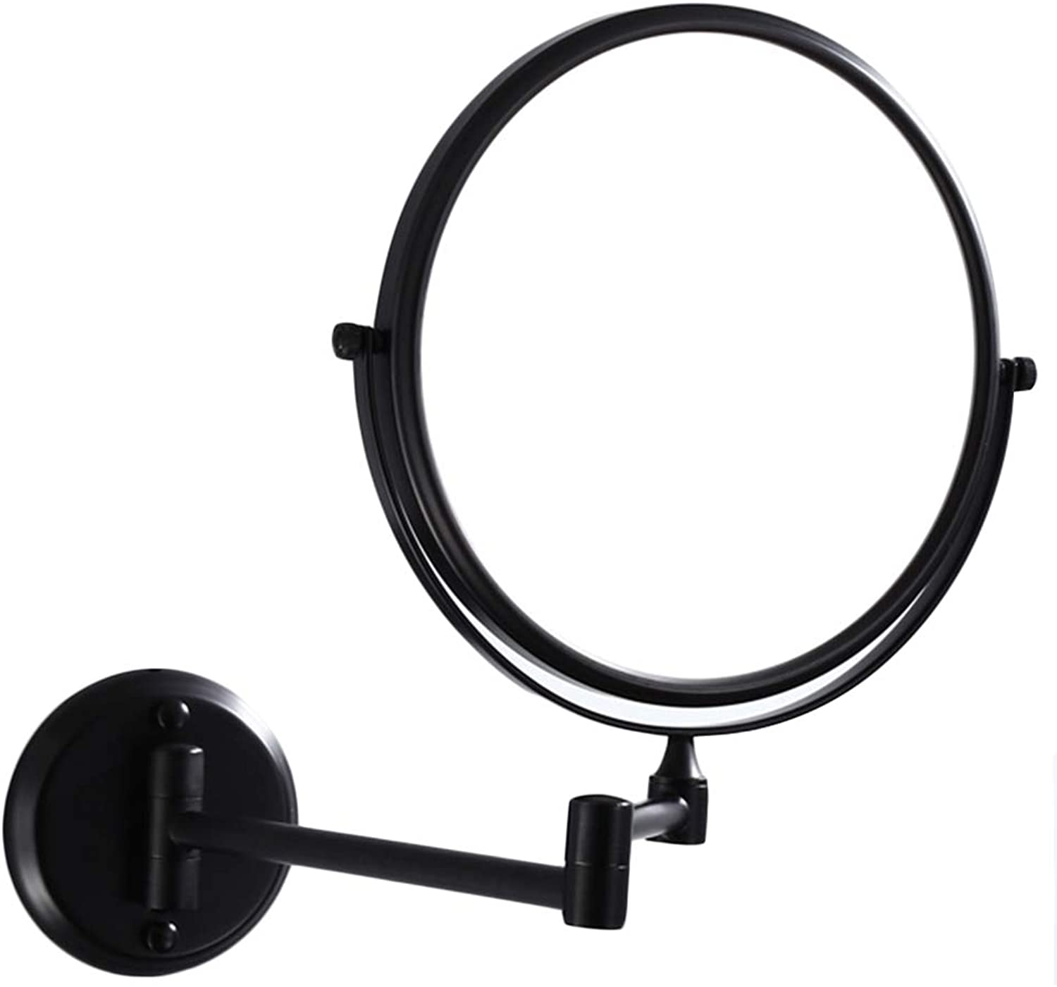 YANZHEN Makeup Mirror Wall-Mounted 3 Times Magnifying Glass Foldable Punch Free 360° redatable Dressing Bathroom Copper, 2 Size (color   Black, Size   15x32cm)