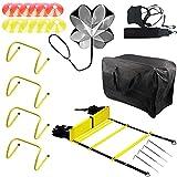 DBREAKS Kit Entrenamiento Velocidad y Agilidad de Fútbol (7 Pcs), 1 Escalera de Agilidad (8m), 1 Cinturón de Entrenamiento de fútbol, 4 Vallas de Coordinación etc, para Fútbol, Fitness