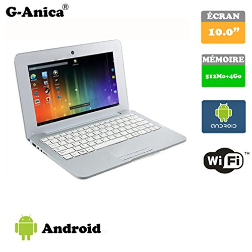 G-Anica Netbook HDMI 10.0 Zoll (WiFi, 1.5GHz RAM 512 Mo, 4 Go ) Tablet-PC Google Android 4.4.2- Silber
