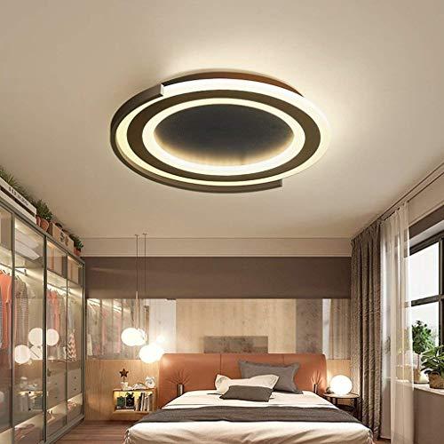 ZLX LED Ronda Minimalista Moderna Sala De Estar Comedor Dormitorio Estudio Moderno Creativo Acrílico Metal Negro Decorativo Lámpara De Techo De Luz De Techo