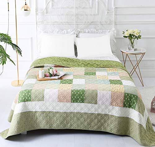 VIVILINEN Tagesdecke 150 x 200 cm 100prozent Baumwolle Bettüberwurf Dünne Sommer Steppdecke Bettdecke (Grün, 150 x 200 cm)
