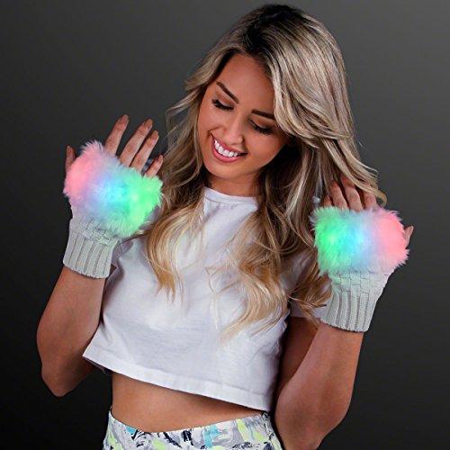 Light Up Fuzzy Fingerless LED Glow Gloves
