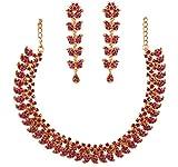 Touchstone Indian Bollywood Desire - Juego de collar de joyería con diseño tradicional de cachemira, color fucsia y diamantes de imitación, color dorado envejecido para mujer.