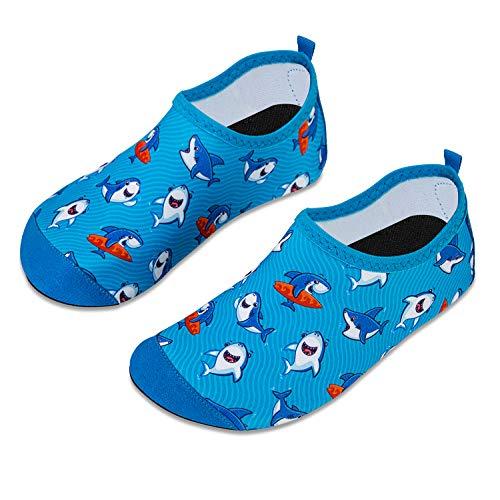 HMIYA Kinder Badeschuhe Wasserschuhe Strandschuhe Schwimmschuhe Aquaschuhe Surfschuhe Barfuss Schuh für Jungen Mädchen Kleinkind Beach Pool(Blauer Hai,24/25)