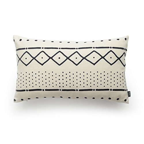 Hofdeco Premium Decorative Cushion Lumbar Pillow Cover HEAVY WEIGHT Cotton Linen African Mud Cloth Ethnic Natural Dots and Line 12'x20' 30cm x 50cm