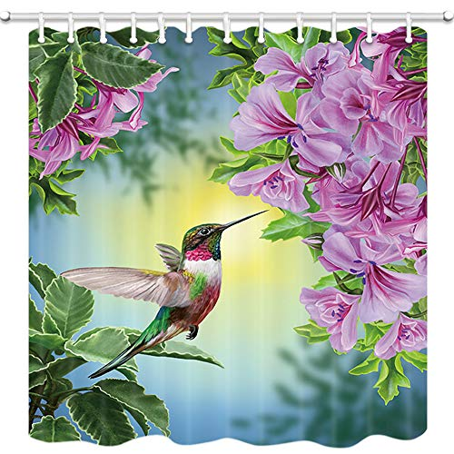 JAWO Flower Shower Curtains, Bird Hummingbird with Pink Flowers, Shower Curtain for Bathroom Decor Polyester Fabric Bathtub Curtain with Hooks Waterproof 69x70inches