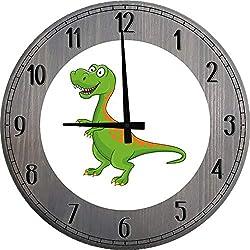 556 Gear Green Dinosaur Wall Clock for Kids Bedroom Large Wood Wall Clock 12 inch Barnwood Gray