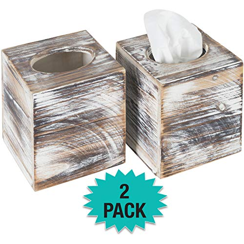 Excello Global Products Rustic Torched Barnwood Tissue Box Cover: Tissue Cube Box Includes Slide-Out Bottom Panel. Perfect for Farmhouse Bathroom Decor (Pack of 2)