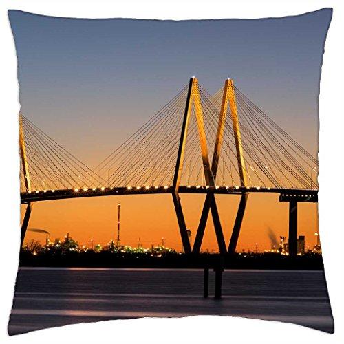beautiful fred hartman bridge in texas - Throw Pillow Cover Case (18