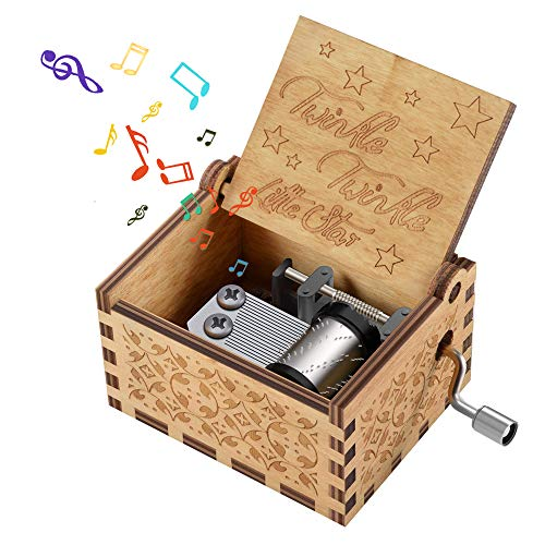 Kids Wooden Music Box Toy for Toddlers, Hand Cranked Engraved Music Gift for 2-8 Year Old Girls Boys Fun Birthday Presents for Babies Children Toys Gift for Grandson Age 3 4 5 6 7 Twinkle Little Star