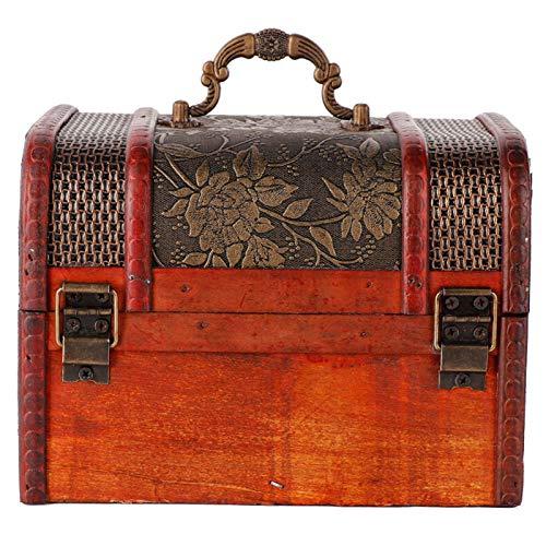 Caja de almacenamiento de joyería roja cinabrio, joyero, exquisita para anillo de collar