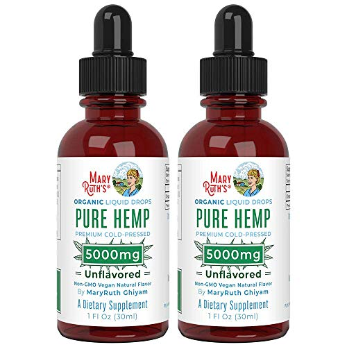 (2 Pack) Organic Pure Hemp Oil 5000mg by MaryRuth's for Pain & Stress Relief - Powerful for Ingestible & Topical Use - Non-GMO - Vegan - Plant Based - Unflavored - 1 oz