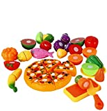 Emorefun Funslane 24 pcs Pretend Food Playset, Plastic Kitchen Cutting Fruits and Vegetables Set with Pizza Play Food Set for Educational Early Age Puzzle Development Learning Toy