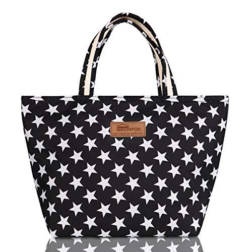 Blu BESTONZON Lunch Bag Insulation Bento Package Waterproof Canvas Portable Foglio di Alluminio Lunch Stripe Box