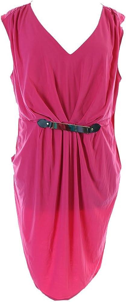 Notations Women's Plus-Size Sleeveless Pleat Front Dress