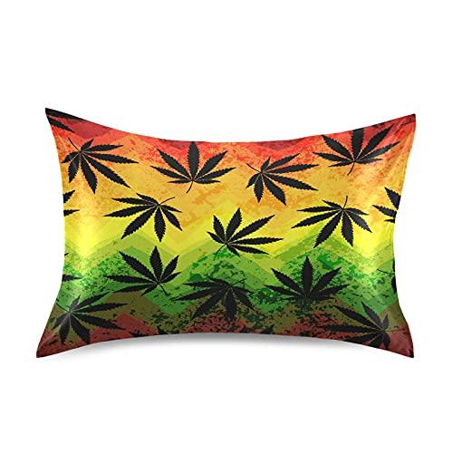 HMZXZ Funda de almohada de satén para pelo y piel, Marijuana, multicolor, geométrica, tamaño Queen 50,8 x 76,2 cm, funda de almohada suave con cierre de sobre, para sofá, cama, casa