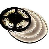 LEDwholesalers UL 16.4-ft Flexible LED Light Strip with 300xSMD2835 12-Volt 24-Watt, Neutral White 4000K, 20105NW