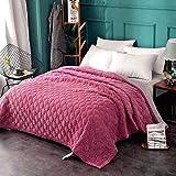 CXLT Crystal Velvet Tagesdecke Quilt Decke Einfarbig rutschfeste Doppelseitige Reversible Baumwolle Füllung Gesteppte Bettüberwurf Multifunktions Alle Jahreszeiten Bedspread,Pink5-King:230x230