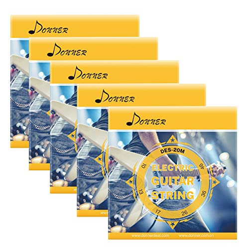 Donner E-Gitarrensaiten Regular Slinky Nickel Wunde Egitarre DES-20M, 10-46(6 Saiten, 5 Stück)