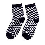 LDA Get Fresh Fashion Trends Unisex Calcetines de tablero de ajedrez geométrico a cuadros hombres mujeres calcetines de algodón negro y blanco tablero de ajedrez negro y blanco