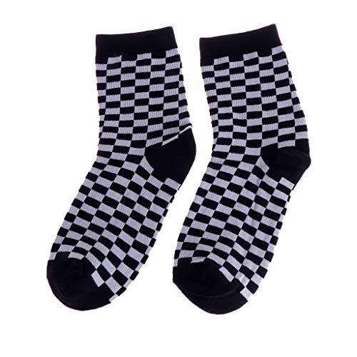 A0127 Modetrends Unisex Socken Schachbrett Geometrisch Kariert Männer Frauen Baumwollsocken