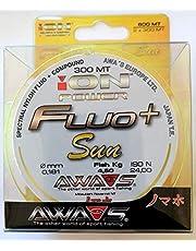 Awa Shima Hilo de pesca Fluo+ Sun Yellow 2 bobinas de 300 m Diámetro 0,181 mm Resistencia 4,5 kg para Surf Casting