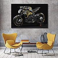 モダンウォールアートキャンバス絵画黒のクールなオートバイのポスターとリビングルームの装飾のためのプリント| 60x90cm /フレームなし