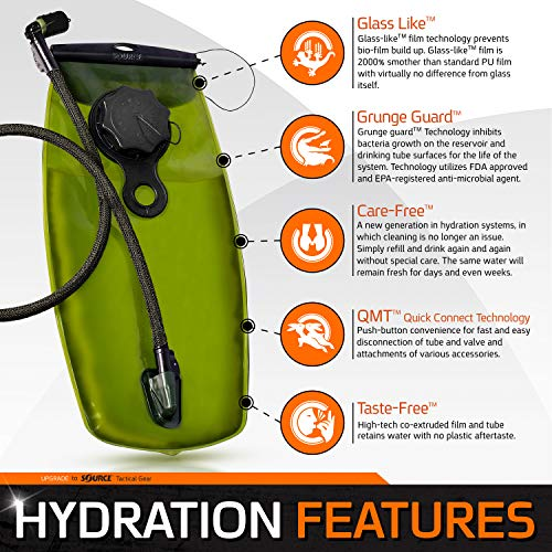 Source Tactical WXP 3-Liter Hydration Reservoir System with Storm Valve, Black