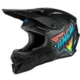 O'NEAL   Casco de Motocross   MX Enduro   Carcasa ABS, Cumple con el estándar de Seguridad ECE 22.05, Airflaps™ Compatible   Casco 3SRS Speedmetal   Adultos   Negro Multi   Talla XS
