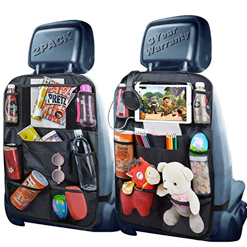 Backseat Organizer, Car Organizer Back Seat Car Organizer for Kids with USB/Headphone Slits of Back Car Seat Organizer Backseat Car Organizer for Road Trip, Kid Snacks, Toys, Travel Accessories,2 Pack