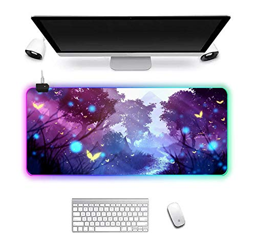 Mouse Pads Fancy Purple Butterfly RGB Gaming Large Computer Mouse Pad with Backlight Keyboard Mat Desk Mat 11.81'x31.50'