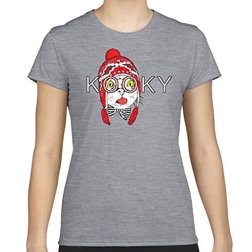 DesignDivil. Fun and Funky 'KOOKY' - T-shirt da donna con gatto grigio Grigio sportivo. M