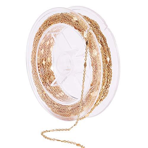 PandaHall Elite 10 m (10.9 yardas) cadena de cable de latón chapado en oro real sin soldar, collar para manualidades y fabricación de joyas, dorado