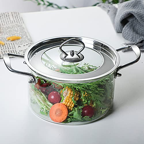 MANO 1.5L/50 oz Glass Pot with Lid Cover Borosilicate Glass Saucepan Casserole with Handle Multipurpose Heat-resistant Cooking Pot/Pan Cookware for Milk,Soup,Baby Food,Pasta,Noodles
