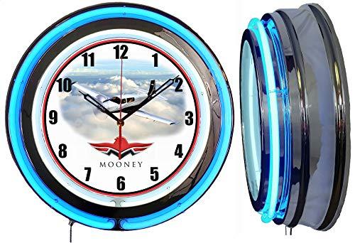 Checkingtime LLC 19' Mooney Aircraft Airplane Neon Clock, Blue Outside Tube, Two Neon Tubes