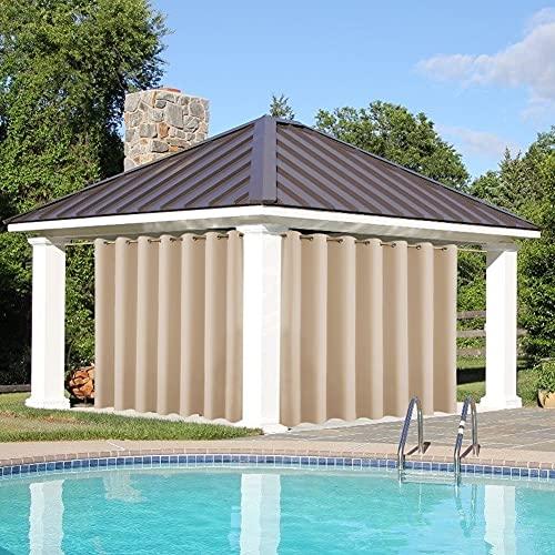 Cortina de protección solar con ojales, para terraza, oscurecimiento exterior, resistente al agua, para jardín, porche, pérgola cabana, gazebo, dock, caqui, B120 x H150 cm, 2 unidades
