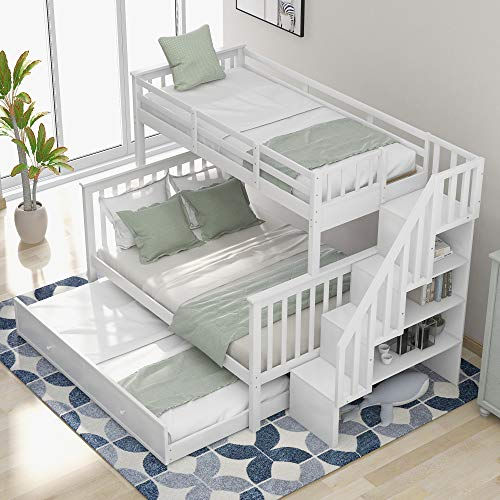 mattress cover for storages LUMISOL Twin/Full Wood Bunk Beds with Stairs and Storages, Twin Over Full Bunk Bed with Trundle for Kids & Adult(White-Twin Over Full)