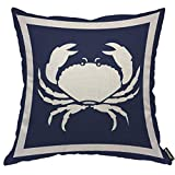 AOYEGO Crab Blue Throw Pillow Cover Seafood Crawl Ocean Marine Nautical Animal Sea Crustacean Silhouette Pillow Case 18x18 Inch Decorative Men Women Boy Girl Room Cushion Cover for Home Couch Bed
