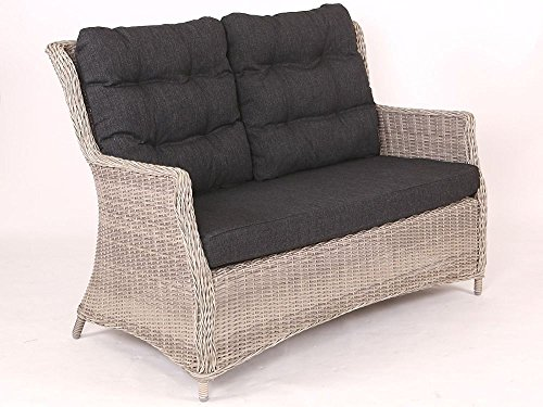 Beauty.Scouts Sofa Loungesofa Sally Vintage Weiss inkl. Polster anthrazit Relaxsofa Gartensofa Polyrattan Rattansessel Taupe inkl. Sitzpolster