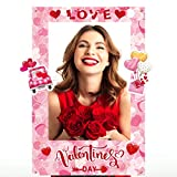 Jetec Valentine's Day Photo Prop Frame Valentine's Day Theme Selfie Photo Booth Picture Frame and Props for Valentine's Day Theme Party Decoration Romantic Sweet Favor Wedding Ornament