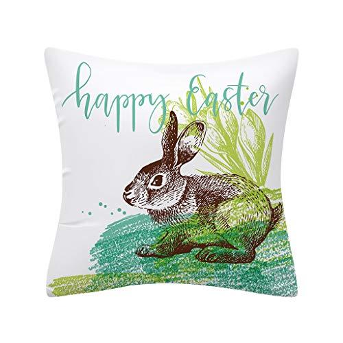 Oppal Funda de Almohada con Estampado de Conejo de Pascua, Funda de cojín de poliéster para sofá, decoración del hogar, Funda de Almohada para el día de Pascua (E)