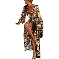 Vestidos De Cóctel Africano Bohemio De Manga Larga Abrigo De Fiesta Maxi Vestido De Mujer Amarillo M