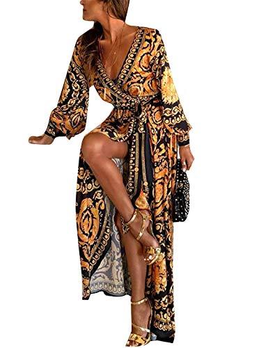 Vestidos De Cóctel Africano Bohemio De Manga Larga Abrigo De Fiesta Maxi Vestido De Mujer Amarillo L