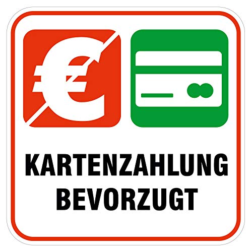 deformaze Sticker Kartenzahlung bevorzugt Aufkleber Zahlungsmethoden Bezahlung 10 x 10 cm Selbstklebend UV Wetterfest für Firma Geschäft Shop Tür Fenster Kasse für außen und innen