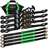 Rhino USA Heavy Duty Vehicle Tie Down Kit - 11,128lb Guaranteed Break Strength - Use for Car, Truck, UTV - (4) Premium 2' x 8' Ratchet Straps with Padded T-Handles + (4) Axle Strap Tie Downs